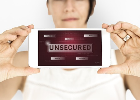 crack: Woman holding digital device network graphic overlay Stock Photo