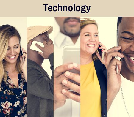 techie: Collection of people using smart phone