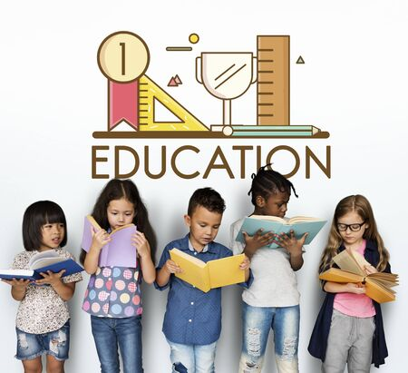 Group of students education with stationery illustration Stock Photo