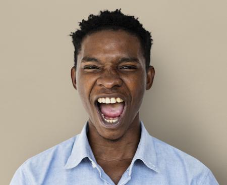 Adult Man Gesture Stand Studio Portrait Stock Photo
