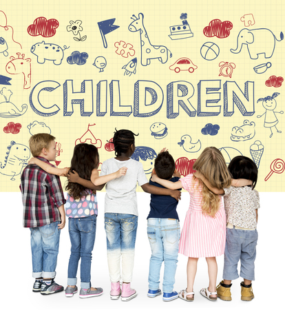 Group of children with imagination illustration
