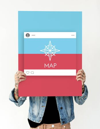 Woman Showing Direction Guide Navigation Route Map Word Graphic