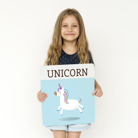 Young girl holding banner network graphic overlay Stock Photo