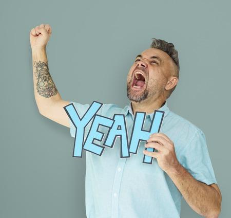 Caucasian Man Shouting Positive Yeah Stok Fotoğraf