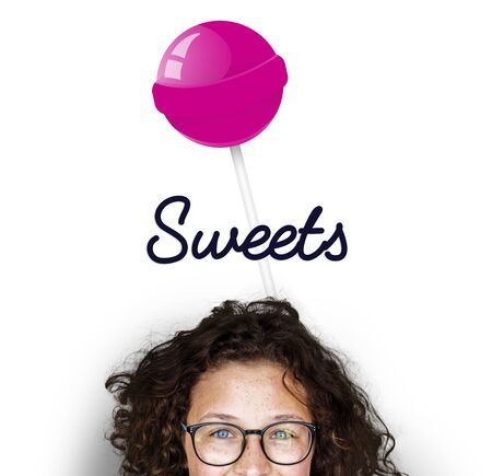 Girl with illustration of sweet candy lollipop Stock fotó