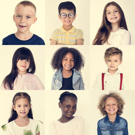 People Set of Diversity Cheerful Kids Studio Collage