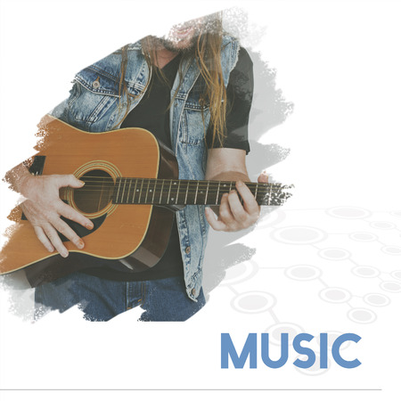 Adult Man Playing Guitar Music Lifestyle Word Graphic Stock Photo