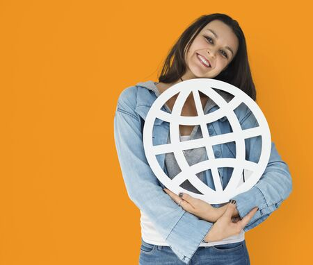 Young woman holding networking paper symbol Stock Photo