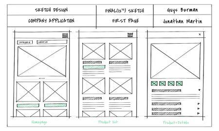 Sketch design homepage layout website Reklamní fotografie - 82395751