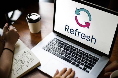 Refresh renew restart efficiency rethink Stock fotó