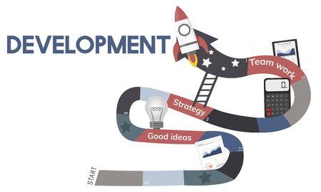 Business Planning Management Mission Teamwork Achievement Ladder Illustration Banco de Imagens - 82395620