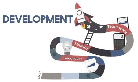Business Planning Management Mission Teamwork Achievement Ladder Illustration