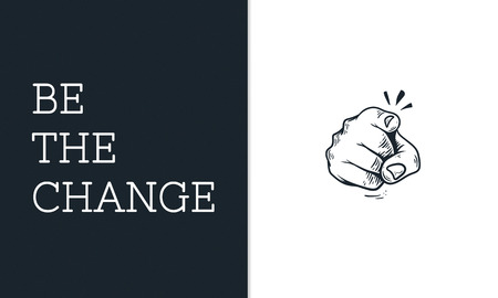 Illustration of pointing finger be the change revolution Stock Photo