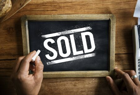 Sold out consumer commercial retail shop Stock Photo