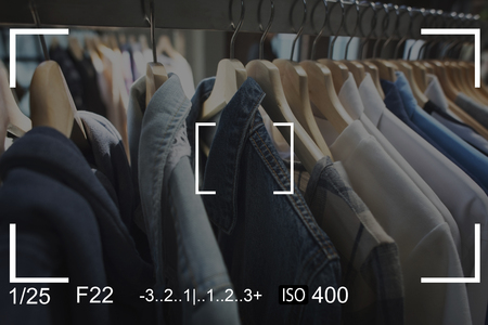 clothing store: Clothes Camera Capture Snap Shot Banner Stock Photo