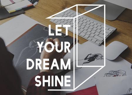 バック グラウンドの作業あなたの夢の輝き言葉を聞かせてください。 写真素材