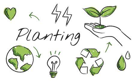 환경 녹색 아이콘 다이어그램 스케치 스톡 콘텐츠