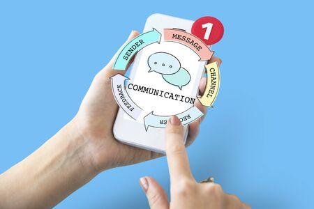 Communication Connection Socialize Diagram Concept Stock Photo
