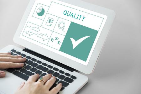 Illustration of quality product warranty assurance on laptop