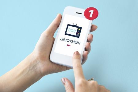 Illustration of TV broadcast media entertainment on mobile phone