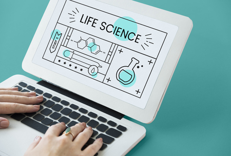 Illustration of science chemistry experiment study on laptop