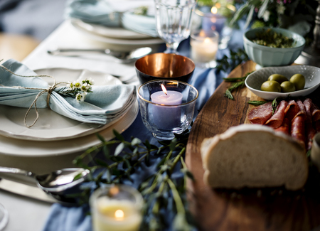 a meeting with a view to marriage: Closeup of Wedding Reception Table Setting with Food