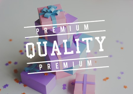 Premium Quality Guarantee Word Stamp Banner Graphic