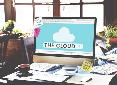 Illustration of cloud computing online networking technology Stock Photo