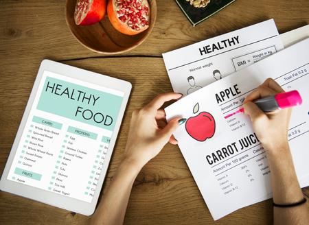 Healthy food concept on digital tablet