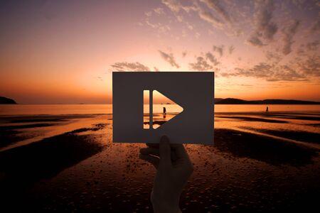 Pauze icoon multimedia entertainment geperforeerd papier
