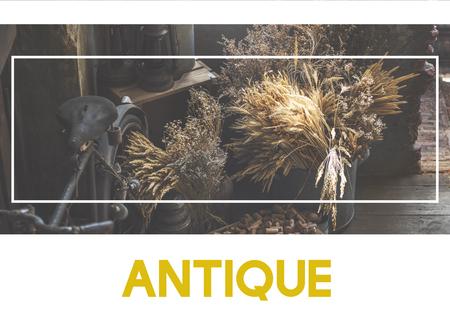 アンティーク Word Sqaure ボックス フレーム グラフィック