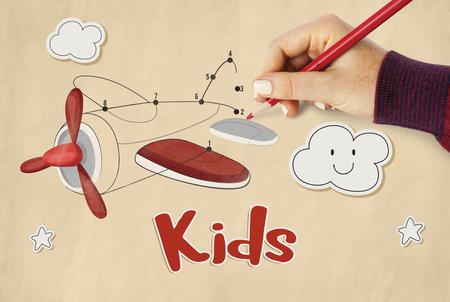 子ども楽しい接続ドット飛行機グラフィック