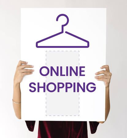 hangers: Illustration of fashionista online shopping store