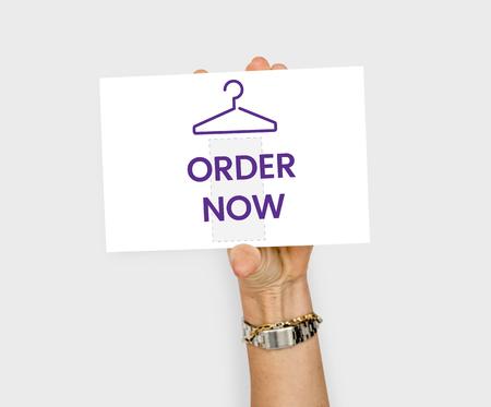 Clothes store commercial illustration order now Reklamní fotografie - 82397870