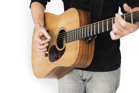 Caucasian Man Playing Guitar Closeup Stok Fotoğraf