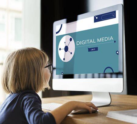Illustration of social media online communication on computer Banco de Imagens
