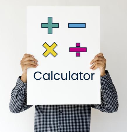 Illustratie van wiskunde calculator symbool Stockfoto - 82346194