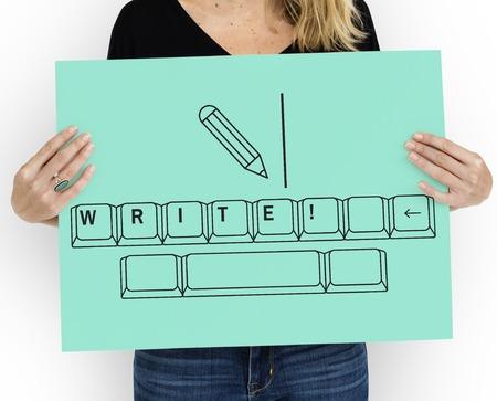 オンライン教育の鉛筆とキーボードのグラフィック 写真素材
