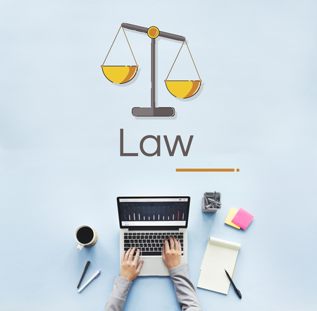 Illustration of justice scale rights and law Banco de Imagens - 82338327