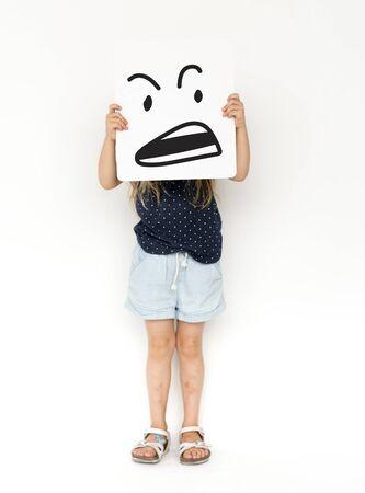 Illustration of aggressive madness face on banner Reklamní fotografie - 82363459