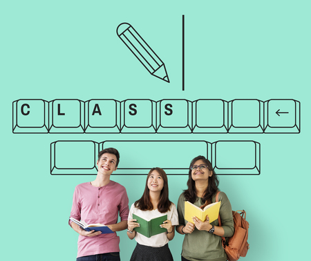 african student: Online education pencil and keyboard graphic Stock Photo