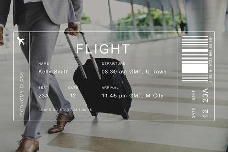 Flight detail banner op reiziger achtergrond Stockfoto