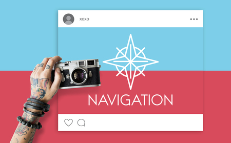 guise: Showing Direction Guide Navigation Route Map Word Graphic Stock Photo
