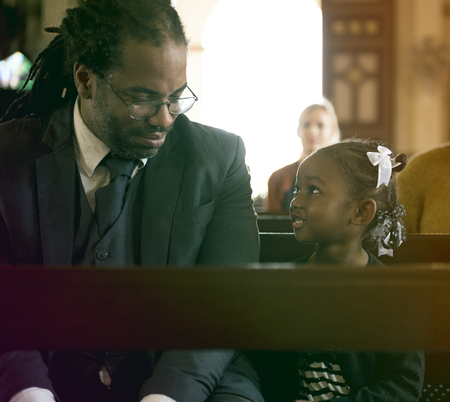 Father Daughter Sitting Church Believe Religion Imagens