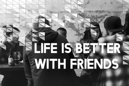 Friends Hangout Celebrate Together Word Graphic Banco de Imagens