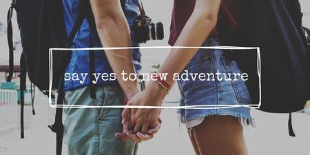 Couple Wander Travel Together Word Фото со стока