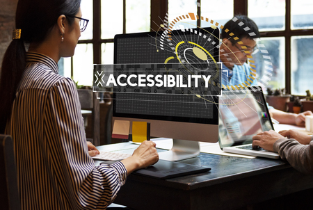 Workspace in the office with accessbility word graphic popup