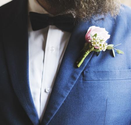 Groom in Navy Blue Tuxedo Wedding Marriage Ceremony Stock Photo - 82398892