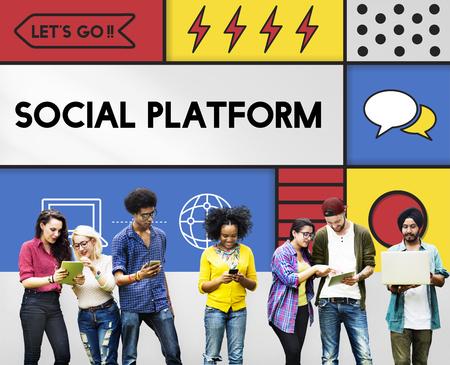 소셜 플랫폼 네트워크 통신 개념 스톡 콘텐츠