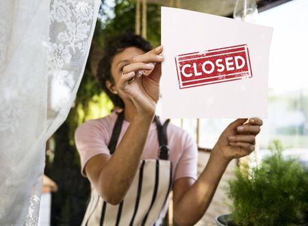 Closed unavailable finished shut blocked Stock Photo